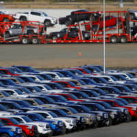 New Toyota vehicles stand in a manufacturing plant stockyard in Tijuana, Mexico, on April 30. | REUTERS