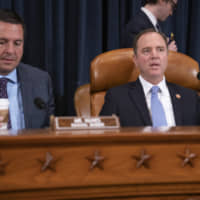 House Intelligence Committee Chairman Adam Schiff, D-Calif (right), joined by Rep. Devin Nunes, R-Calif, the ranking member, opens a hearing on politically motivated fake videos and manipulated media, on Capitol Hill in Washington June 13. | AP