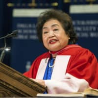 Setsuko Thurlow gives a speech at a graduation ceremony at the University of Toronto in Canada on Tuesday. | FROST PHOTOGRAPHIC / VIA KYODO