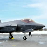 An F-35A stealth fighter is seen at Misawa Air Base in Aomori Prefecture in January 2018. | KYODO