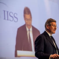 John Chipman, director-general of the IISS, speaks during the Shangri-La Dialogue  in Singapore on June 2017. | BLOOMBERG