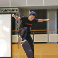 Sora Shirai attempts a trick during the skateboarding event at Ark League competition in Samukawa, Kanagawa Prefecture, on April 29. | KYODO