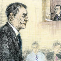 A courtroom sketch shows actor and musician Pierre Taki appearing at the Tokyo District Court on Tuesday.   KYODO