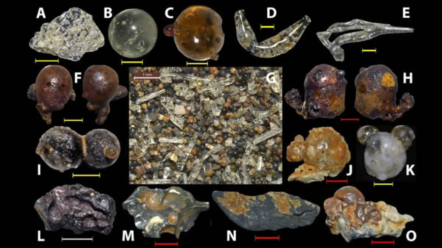 Examples of the range of nuclear fall-out particles collected from beaches on Motoujima Peninsula, near Hiroshima. | MARIO WANNIER
