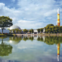 The Tsukuba Expo Center with its life-sized H-II rocket model in the distance