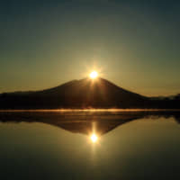 The sun rises from behind the famous Mount Tsukuba.
