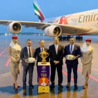 Rugby World Cup trophy arrives in Japan for three-month tour