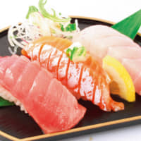 Nigiri from Sushi Maru, a rotating sushi bar known for serving the best of freshly caught Setouchi seafood from local fish markets.