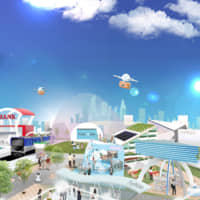 A rendering of 'Society 5.0 Town,' an area of the event space created in collaboration among companies from diverse sectors such as banking, construction, logistics, retail, transport and entertainment as well as local governments | CEATEC EXECUTIVE BOARD