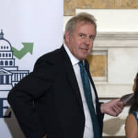 then-British Ambassador to the U.S. Kim Darroch hosts a National Economists Club event at the British Embassy in Washington on Oct. 20, 2017. | AP