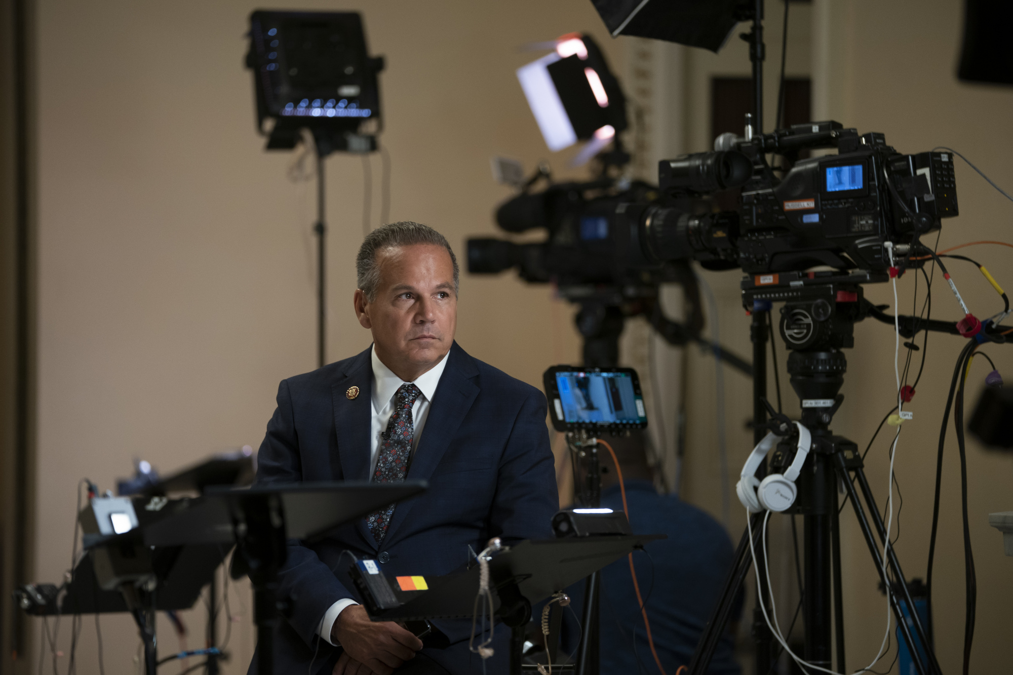 Rep. David Cicilline, D-R.I., pauses during a television news interview at the Capitol in Washington Tuesday. Cicilline is the chairman of the House Judiciary Subcommittee on Antitrust, Commercial and Administrative Law and is a key figure in the debate over whether technology giants like Facebook and Google should be broken up. | AP