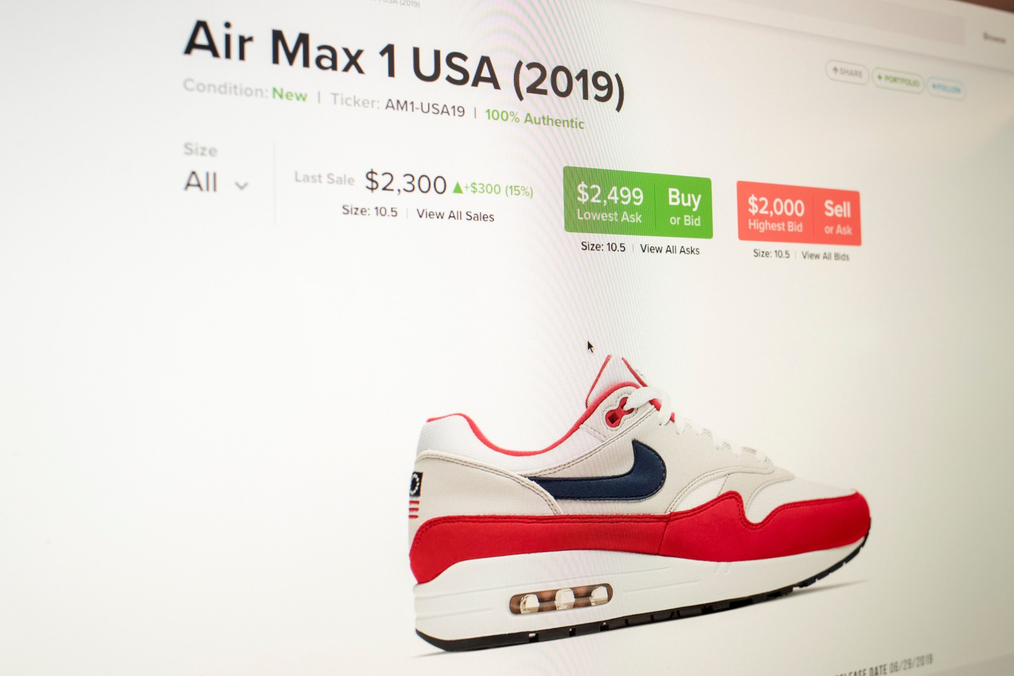 The price of a pair of Air Max 1 sneakers from Nike with the Betsy Ross flag on it are for sale on the website Stockx.com as seen on a computer screen in New York Tuesday. | REUTERS