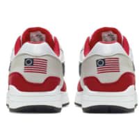 This undated product image obtained by the Associated Press shows Nike Air Max 1 Quick Strike Fourth of July shoes that have a U.S. flag with 13 white stars in a circle on it, known as the Betsy Ross flag, on them. Nike is pulling the flag-themed tennis shoe after former NFL quarterback Colin Kaepernick complained to the shoemaker, according to the Wall Street Journal. | AP
