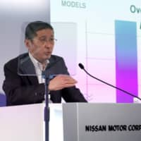 Nissan CEO Hiroto Saikawa attends a news conference to release first-quarter earnings at the company headquarters in Yokohama on Thursday. | REUTERS