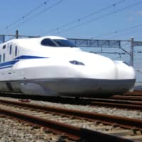 Central Japan Railway Co. conducts a test run Wednesday of its new battery-powered shinkansen in Mishima, Shizuoka Prefecture. | KYODO