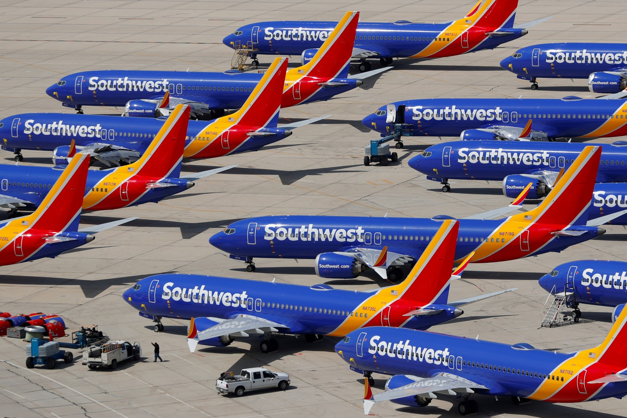Grounded Southwest Airlines Boeing 737 Max 8 aircraft are shown parked at Victorville Airport in Victorville, California, March 26. | REUTERS