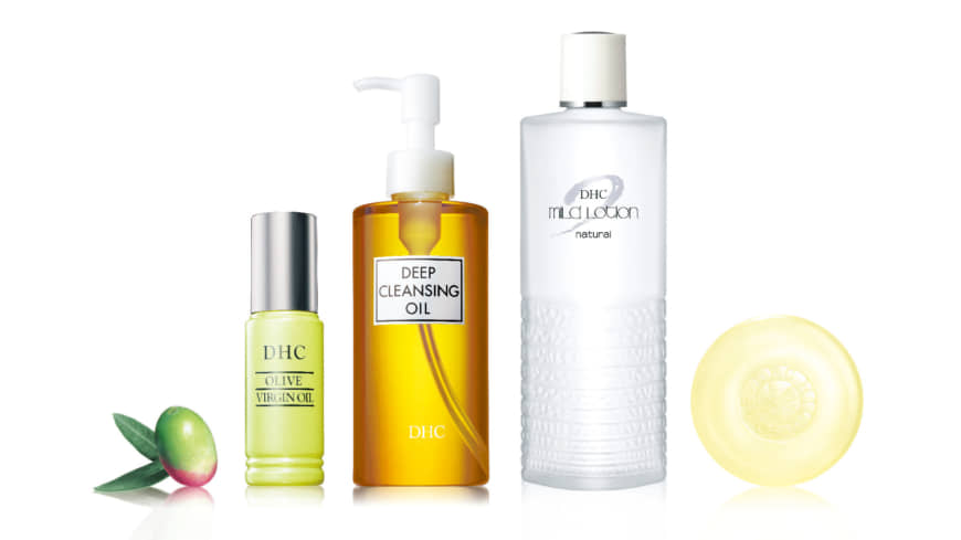 The DHC Olive Sube-Sube series includes Olive Virgin Oil, Deep Cleansing Oil, Mild Soap and Mild Lotion. | DHC CORP.