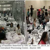 This image released in a report Tuesday by the U.S. Department of Homeland Security (DHS) Inspector General Office (OIG) shows migrant families overcrowding a Border Patrol facility on June 11 in McAllen, Texas. | AFP-JIJI