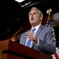House Minority Leader Kevin McCarthy meets with reporters on Capitol Hill in Washington Thursday. | AP