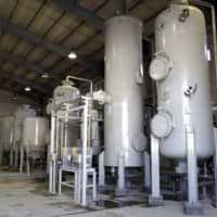 The interior of the Arak heavy water production facility in Arak, Iran, is seen in October 2004.   AP