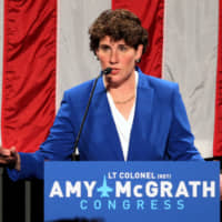 Democratic congressional candidate Amy McGrath thanks all her supporters after appearing at her election night party in Richmond, Kentucky, last Nov. 6. | REUTERS