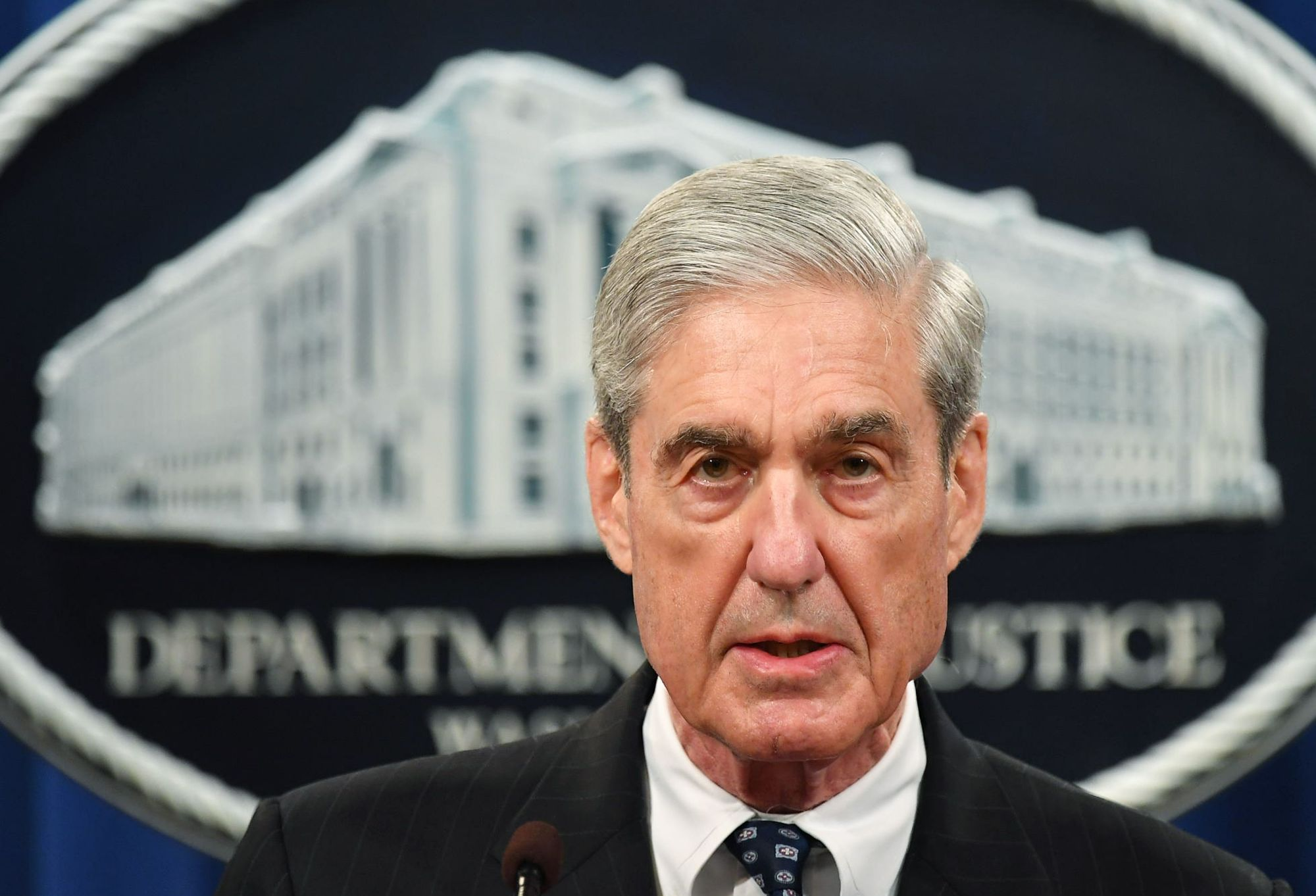 Special counsel Robert Mueller speaks on the investigation into Russian interference in the 2016 presidential election, at the U.S. Justice Department in Washington in May. Mueller will submit to questions for the first time Wednesday on his explosive report detailing numerous links between President Donald Trump's 2016 campaign and Russian election meddling, and Trump's efforts to obstruct his investigation. | AFP-JIJI