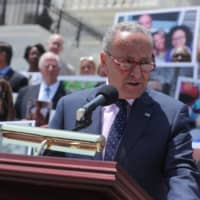 Senate Minority Leader Chuck Schumer (D-NY) and U.S. House Speaker Nancy Pelosi (D-CA) lead fellow congressional Democrats for remarks on health care coverage of pre-existing conditions, on the steps of the U.S. Capitol in Washington Tuesday. | REUTERS