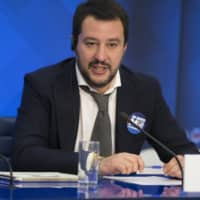 Then-Italian Northern League leader Matteo Salvini speaks during a news conference at the RIA Novosti news agency in Moscow i 2016. Salvini's office on Sunday distanced itself from a lobbyist who's under investigation for allegedly seeking Russian money for Interior Minister Salvini's pro-Moscow League party, saying that man attended a recent dinner hosted by Italy for visiting Russian President Vladimir Putin strictly due to pressing by a Salvini staff adviser. | AP