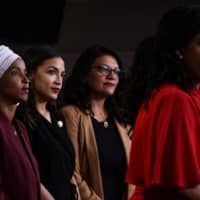 Rep. Ayanna Pressley speaks as (from left) Reps./ Ilhan Abdullahi Omar, Rashida Tlaib and Alexandria Ocasio-Cortez hold a press conference to address remarks made by U.S. President Donald Trump earlier in the day, at the U.S. Capitol in Washington July 15.   AFP-JIJI