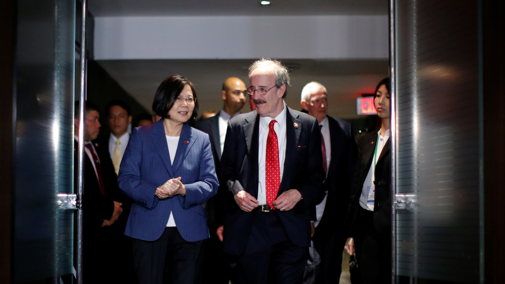 Taiwan President Tsai Ing-wen arrives for VIP reception at the Hyatt hotel in New York on Friday. | REUTERS