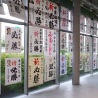 Dozens of endorsement posters signed by heavyweights of the ruling Liberal Democratic Party are pasted on windows at the campaign office of Matsuji Nakaizumi, an LDP incumbent running for re-election, in the city of Akita.   REIJI YOSHIDA