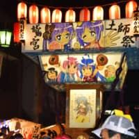 A portable shrine bearing illustrations of characters from the anime series 'Lucky Star' is carried at an annual festival at Washinomiya Shrine in Kuki, Saitama Prefecture, in September 2017.   KYODO