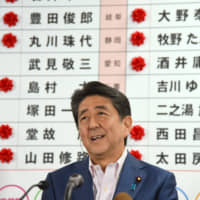 Abe's ruling coalition victorious, but pro-revision forces suffer electoral setback in drive to amend Constitution