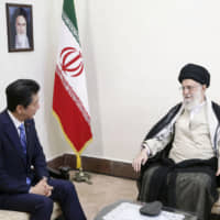 Prime Minister Shinzo Abe meets with Iran's Supreme Leader Ayatollah Ali Khamenei in Tehran on June 13. | IRANIAN SUPREME LEADER PRESS OFFICE / VIA KYODO