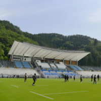 The Kamaishi Recovery Memorial Stadium in the city of Kamaishi, Iwate Prefecture, is seen in this photo taken on Friday. The facility was built on the grounds of two schools destroyed by the tsunami on March 11, 2011. . | KYODO