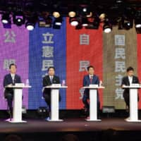 The leaders of major political parties face off in a debate broadcast online Sunday, days before the start of official campaigning for the Upper House election. | KYODO