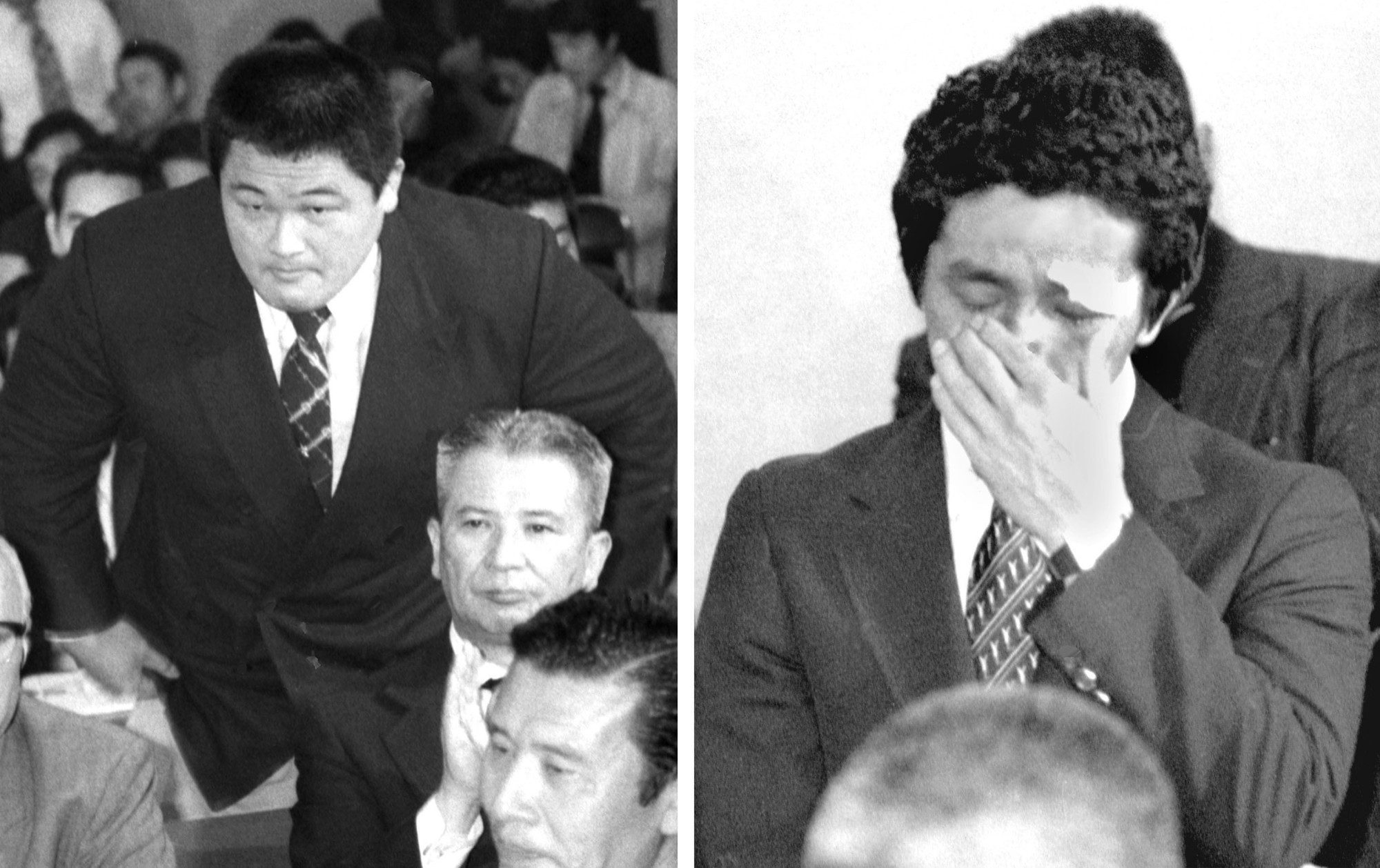 Photos from April 1980 show judoka Yasuhiro Yamashita (left), who now heads the Japanese Olympic Committee, and wrestler Yuji Takada calling for the country's participation in that year's Moscow Olympics.   KYODO