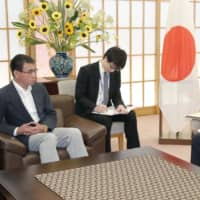 Foreign Minister Taro Kono meets with South Korean Ambassador Nam Gwan-pyo at the Foreign Ministry in Tokyo on July 19. | KYODO