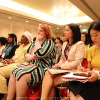 Participants engage in an interactive discussion with panelists at the International Conference for Women in Business on July 7 in Tokyo. | COURTESY OF THE INTERNATIONAL CONFERENCE FOR WOMEN IN BUSINESS 2019