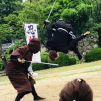 Flipping out: John Patrick Jandernoa has been able to use the skills he learned as a dancer in the ninja stage show he acts in. | @AICHI-NAGOYA