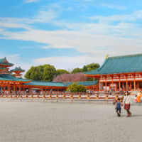 Cinematic shintoism: Heian Shrine, built in 1895, is a vast complex of buildings that features in both 'Around the World in 80 Days' (1956) and 'Lost in Translation' (2003).   GETTY IMAGES