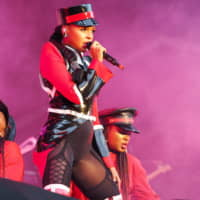 Janelle Monae dominates the Green Stage on Friday afternoon.   MARK THOMPSON