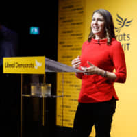New Liberal Democrat leader Jo Swinson speaks at an event announcing the results of the party's leadership contest in central London on July 22. | AFP-JIJI