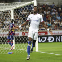 Chelsea's Tammy Abraham celebrates after scoring a goal against Barcelona on Tuesday. | AP