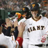 Shortstop Hayato Sakamoto has helped lift the Giants into first place in the Central League. | KYODO