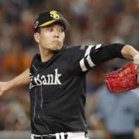 Pacific League starter Kodai Senga pitches in Game 1 of the NPB All-Star Series on Friday at Tokyo Dome.   KYODO