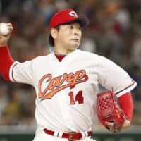 Central League starting pitcher Daichi Osera worked two innings on Friday night.   KYODO