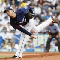 Lions hurler Keisuke Honda pitches against the Marines on Saturday at Zozo Marine Stadium. Seibu blanked Chiba Lotte 5-0. | KYODO