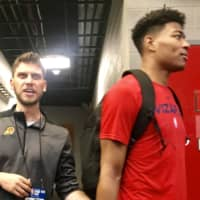 Riccardo Fois, a player development coach for the Phoenix Suns, and Rui Hachimura are seen after the Washington Wizards' 76-71 win over the Atlanta Hawks in the NBA Summer League at Thomas & Mack Center on Thursday. | KAZ NAGATSUKA