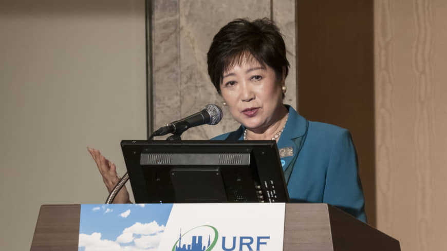 Tokyo Gov. Yuriko Koike speaks about the metropolitan government's disaster prevention efforts at the mayoral roundtable session at the Urban Resilience Forum Tokyo on May 21. | TOKYO METROPOLITAN GOVERNMENT
